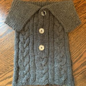 MICHAEL KORS CABLE KNIT SWEATER SCARF WRAP GRAY